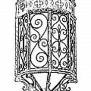 Colorful Vibrant Red Green Gothic Sconce Light Black And White Stamp Digital Art Art Print