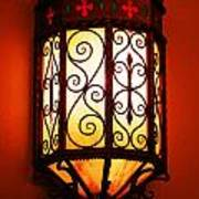 Colorful Vibrant Red Green Gothic Sconce Light Art Print