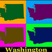 Colorful Washington State Pop Art Map Art Print