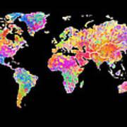 Colorful Watercolor World Map Art Print