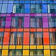 Colorful Windows On Modern Apartment Block Art Print