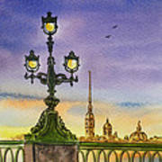 Colors Of Russia Bridge Light In Saint Petersburg Art Print
