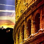 Colosseum Sunset Art Print