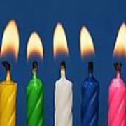 Colourful Candles Lit Art Print