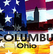 Columbus Oh Patriotic Large Cityscape Art Print