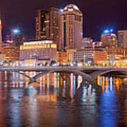 Columbus Skyline At Night Color Panorama Ohio Art Print