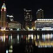 Columbus Skyline At Night Art Print