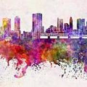 Columbus Skyline In Watercolor Background Art Print