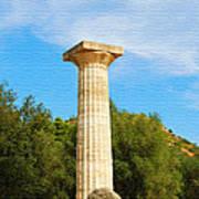 Column At The Temple Of Hera Olympia Greece Art Print
