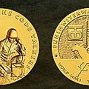 Comanche Nation Tribe Code Talkers Bronze Medal Art  Art Print