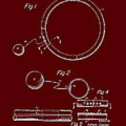 Combined Hoop And Tethered Ball Toy Patent 1967 Art Print