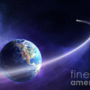 Comet Moving Past Planet Earth Art Print