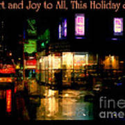 Comfort And Joy To All This Holiday Season - Corner In The Rain - Holiday And Christmas Card Art Print