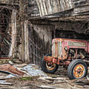 Comfortable Chaos - Old Tractor At Rest - Agricultural Machinary - Old Barn Art Print