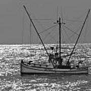 Commercial Fishing Boat Dickey Byrd Out Of Half Moon Bay Art Print