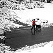 Companions Walking On Christmas Morning Art Print