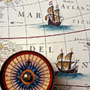 Compass And Old Map With Ships Art Print