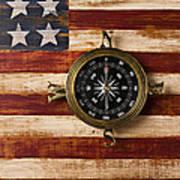 Compass On Wooden Folk Art Flag Art Print