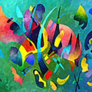 Composition In Blue And Green Art Print
