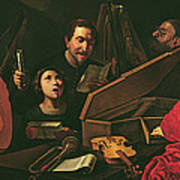 Concert With Musicians And Singers, C.1625 Oil On Canvas Art Print