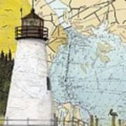 Concord Pt Lighthouse Md Nautical Chart Map Art Cathy Peek Art Print