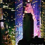 Concrete Canyons Of Manhattan At Night  Art Print