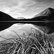 Cone Shaped Mountain Reflected In Lake At Sunset Art Print