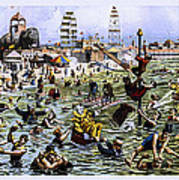 Coney Island Beach And Boardwalk Art Print