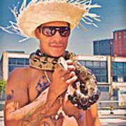 Coney Island Snake Man Art Print