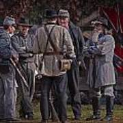 Confederate Civil War Reenactors With Rebel Confederate Flag Art Print