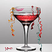 Confetti Hanging From Glass Of Pink Art Print