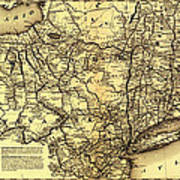 Connecticut And Western Railroad Map 1871 Art Print