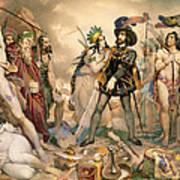 Conquest Of Mexico Hernando Cortes Destroying His Fleet At Vera Cruz Art Print