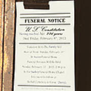 Constitution Death Notice Print by Joe Jake Pratt