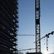 Construction Cranes In Backlit Art Print