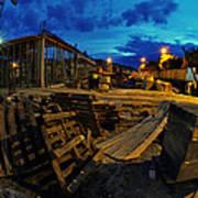 Construction Site At Night Print by Jaroslaw Grudzinski