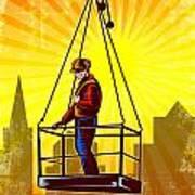 Construction Worker Platform Retro Poster Art Print
