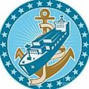 Container Ship Cargo Boat Anchor Art Print