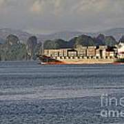 Container Ship In Halong Bay Art Print