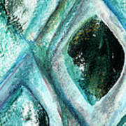 Contemporary Abstract- Teal Drops Art Print