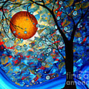 Contemporary Modern Art Original Abstract Landscape Painting Blue Essence By Megan Duncanson Art Print