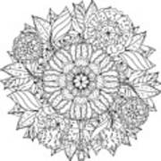 Contoured Mandala Shape Flowers For Art Print