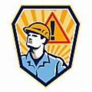 Contractor Construction Worker Caution Sign Retro Art Print