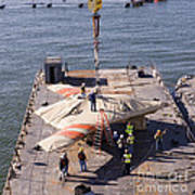 Contractors Hoist The X-47b Unmanned Art Print