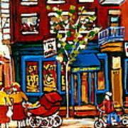 Conversation At St Viateur Bagel Paintings Mehadrin Kosher Deli Authentic Vintage Montreal Cspandau Art Print