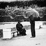 Conversation In The Rain Art Print