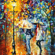Conversation - Palette Knife Oil Painting On Canvas By Leonid Afremov Art Print