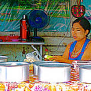 Cooking In The Marketplace In Tachilek-burma Art Print