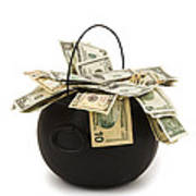 cooking Pot full of Money White Background Art Print