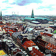 Copenhagen Roofs With Danish Parliament I Art Print